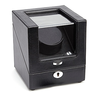 Royce Leather Luxury Single Watch Winder, Black, Silver Foil Stamping, 3 Initials