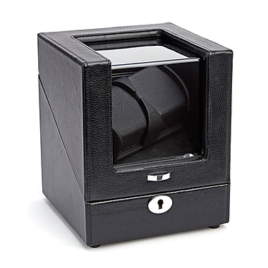 Royce Leather Luxury Double Watch Winder, Black, Silver Foil Stamping, 3 Initials