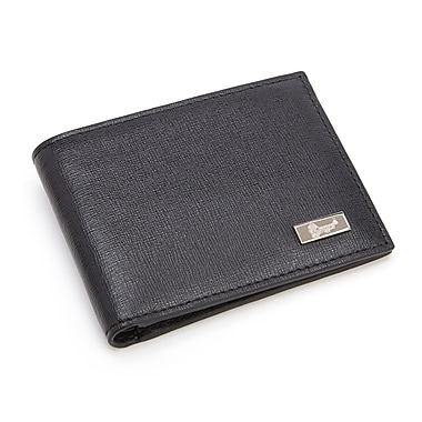 Royce Leather RFID Blocking Slim Money Clip Wallet, Black, Silver Foil Stamping, Full Name