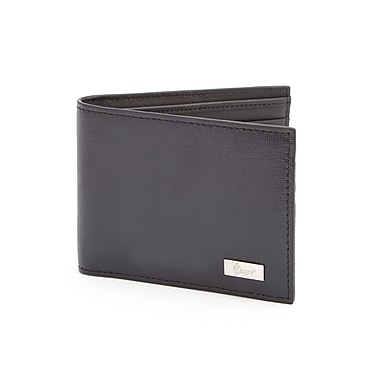 Royce Leather RFID Blocking Clip Wallet, Black, Silver Foil Stamping, Full Name