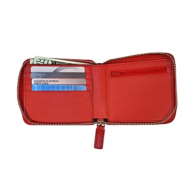 Royce Leather RFID Blocking Zippered Wallet, Red, Silver Foil Stamping, Full Name