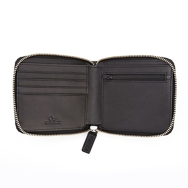 Royce Leather RFID Blocking Zippered Wallet, Black