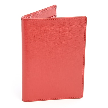 Royce Leather – Portefeuille de voyage anti-RFID, rouge, estampage argenté, nom complet