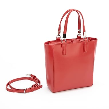 Royce Leather RFID Blocking Tote Bag, Red, Gold Foil Stamping, Full Name