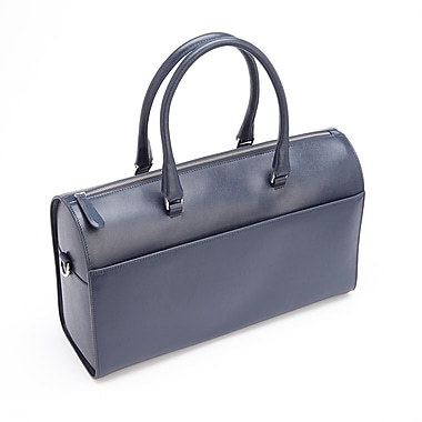 Royce Leather – Sac de voyage anti-RFID, bleu, estampage doré, nom complet
