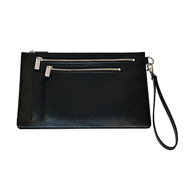 Royce Leather – Porte-document avec protection RFID, noir, estampage argenté, 3 initiales