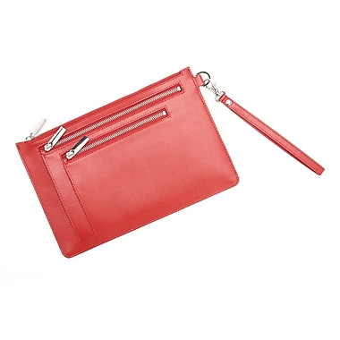 Royce Leather – Porte-document anti-RFID, rouge, estampage doré, nom complet