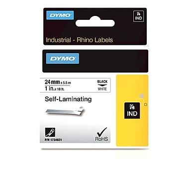 Dymo® – Étiquettes industrielles en vinyle autoprotégé Rhino™, 1 po x 18 pi, texte noir sur blanc