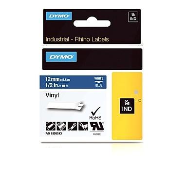 Dymo® - Étiquettes adhésives Rhino™ Industrial en vinyle, 1/2 po x 18 pi, impression blanche sur bleu
