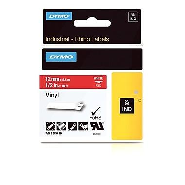 Dymo® - Étiquettes adhésives Rhino™ Industrial en vinyle, 1/2 po x 18 pi, impression blanche sur rouge