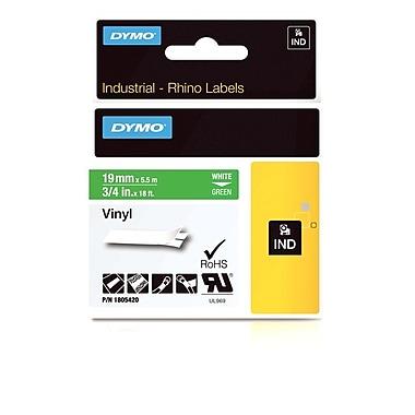 Dymo® - Étiquettes adhésives Rhino™ Industrial en vinyle, 3/4 po x 18 pi, texte blanc sur vert