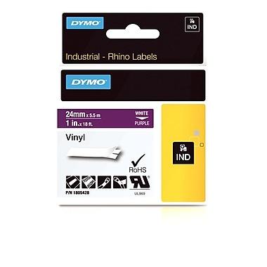 Dymo® - Étiquettes adhésives Rhino™ Industrial en vinyle, 1 po x 18 pi, impression blanche sur mauve