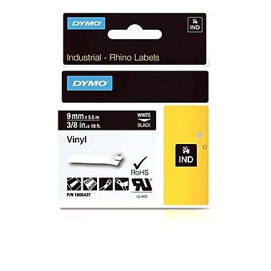 Dymo® - Étiquettes adhésives Rhino™ Industrial en vinyle, 3/8 po x 18 pi, impression blanche sur noir