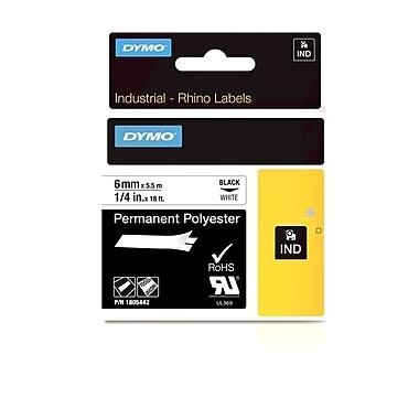 Dymo® – Ruban adhésif en polyester permanent industriel Rhino™, 1/4 po x 18 pi, texte noir sur ruban blanc