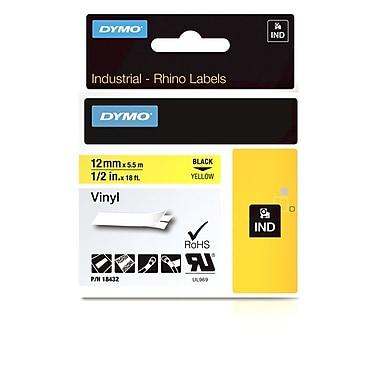 Dymo® - Étiquettes adhésives Rhino™ Industrial en vinyle, 1/2 po x 18 pi, texte noir sur jaune