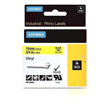 Dymo® - Étiquettes adhésives Rhino™ Industrial en vinyle, 3/4 po x 18 pi, texte noir sur jaune
