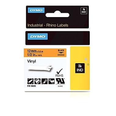 Dymo® - Étiquettes adhésives Rhino™ Industrial en vinyle, 1/2 po x 18 pi, texte noir sur orange