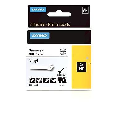 Dymo® - Étiquettes adhésives Rhino™ Industrial en vinyle, 3/8 po x 18 pi, impression noire sur blanc