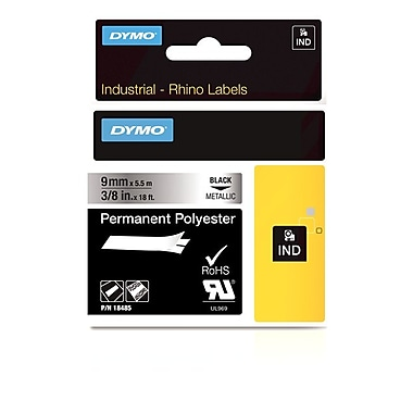 Dymo® Rhino™ Industrial Permanent Poly Adhesive Metallic Labels, 3/8