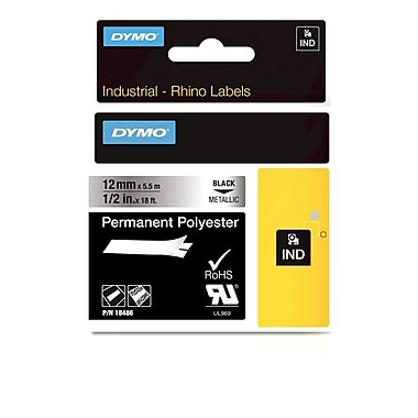 Dymo® Rhino™ Industrial Permanent Poly Adhesive Metallic Labels, 1/2