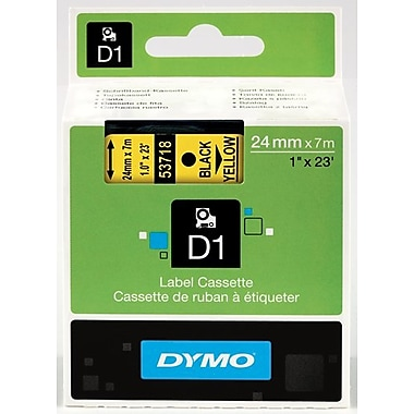 Dymo® – Ruban D1 en polyester, 1 po, texte noir sur ruban jaune
