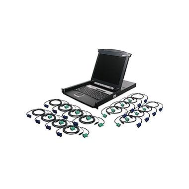 IOGEARMD – Commutateur à 16 ports avec écran ACL de 17 po combiné au module KVM et câbles USB KVM