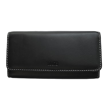 Roots Clutch Wallet with Check Book - Continental Collection, Black