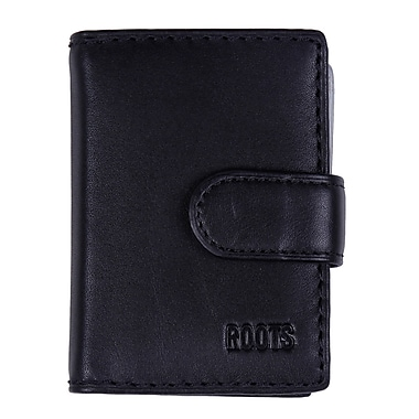 Roots Card Holder with Tab Closure, Black