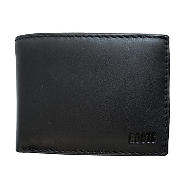 Roots Slim Fold Wallet with Removable Flap, Black