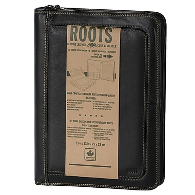 Roots – Porte-documents d'affaires, cuir, unisexe, noir