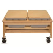 "Whitney Plus 23 1/2"" x 43 1/2"" x 31"" Laminate 2 Tub Sand and Water Table, Maple"