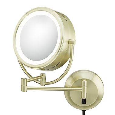 Kimball & Young Kimball & Young NeoModern LED Lighted Plug-in Wall Mirror; Brushed Brass
