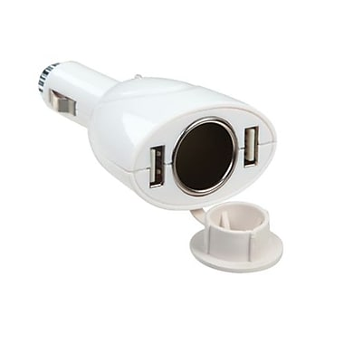 Insten® Dual USB Cigarette Lighter, White