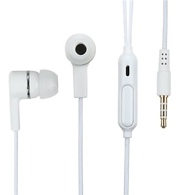 Insten® 10mW Stereo Handsfree Headset With Braid Cable, White