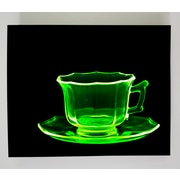 Radiant Art Studios X-ray Designs Uranium Glass Teacup Graphic Art Plaque