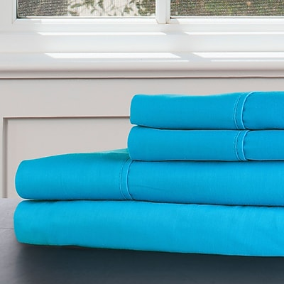 Lavish Home 100% Egyptian Cotton 300 Thread Count King Sheet Set, Sky Blue
