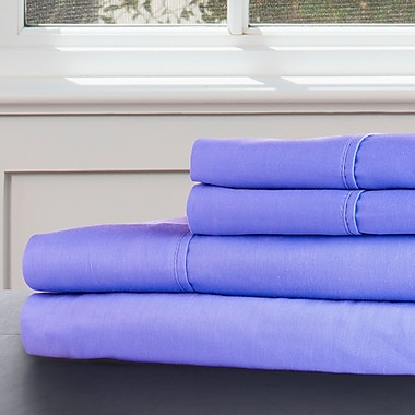 Lavish Home 100% Egyptian Cotton 300 Thread Count King Sheet Set, Periwinkle