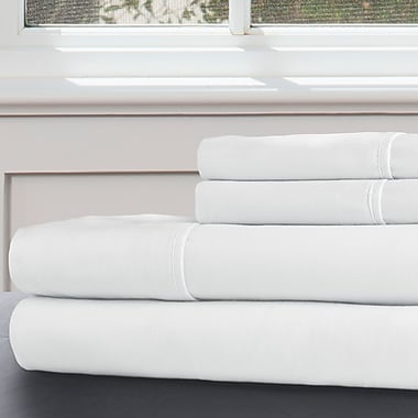 Lavish Home 100% Egyptian Cotton 300 Thread Count Queen Sheet Set, White