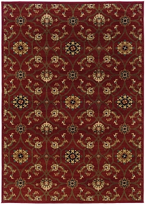 StyleHaven Floral Red/ Brown Indoor Machine-made Polypropylene Area Rug (6'7