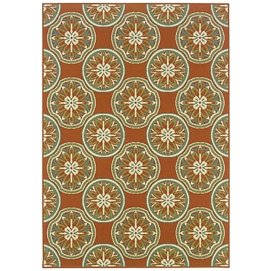StyleHaven Floral Orange/ Ivory Indoor/Outdoor Machine-made Polypropylene Area Rug (7'10