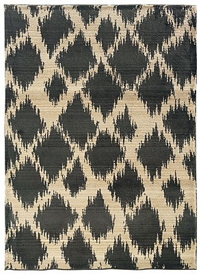StyleHaven Tribal Ikat Ivory/ Brown Indoor Machine-made Polypropylene Area Rug (6'7