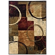 "Abstract Brown/ Black Indoor Machine-made Polypropylene Area Rug (7'8"" X 10'10"")"