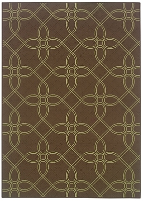 StyleHaven Geometric Brown/ Green Indoor/Outdoor Machine-made Polypropylene Area Rug (7'10