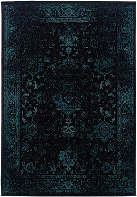 StyleHaven Overdyed Oriental Black/ Teal Indoor Machine-made Polypropylene Area Rug (3'10