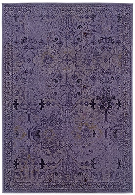 StyleHaven Overdyed Oriental Purple/ Grey Indoor Machine-made Polypropylene Area Rug (6'7