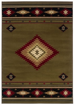 StyleHaven Southwest/Lodge Green/ Red Indoor Machine-made Polypropylene Area Rug (3'10