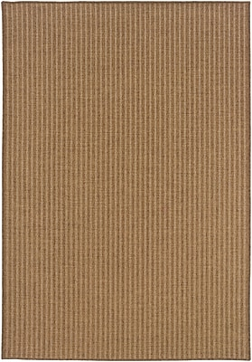"Stripe Tan/ Light Tan Indoor/Outdoor Machine-made Polypropylene Area Rug (7'10"" X 10'10"")"