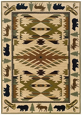 StyleHaven Southwest/Lodge Ivory/ Green Indoor Machine-made Polypropylene Area Rug (5'3