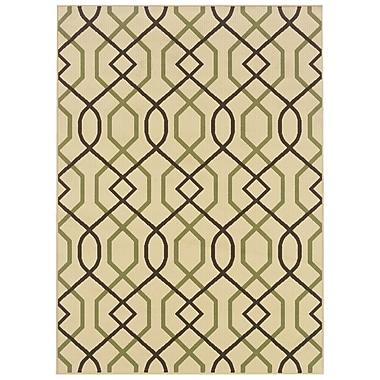 StyleHaven Geometric Ivory/ Brown Indoor/Outdoor Machine-made Polypropylene Area Rug (3'7