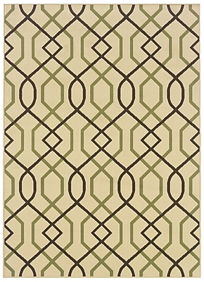 StyleHaven Geometric Ivory/ Brown Indoor/Outdoor Machine-made Polypropylene Area Rug (6'7